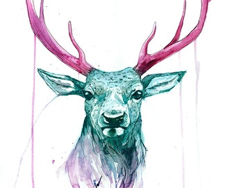 Print Watercolour Stag illustration 'Spike' - LIMITED EDITION 'Candy' Colourway, archival deer stag print