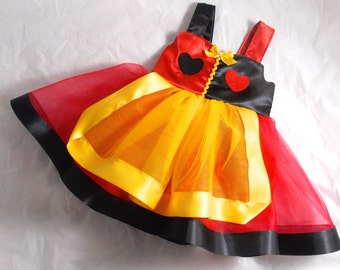 Queen of Hearts costume dress: red black and gold, lined, tutu dress, easy on and off, halloween, birthday party, parks trip, meet & greet