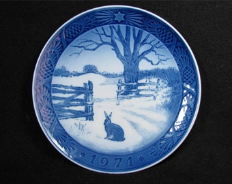 "ROYAL COPENHAGEN 1971 Hare in Winter Plate ""Hare I Vinterlandskab"" Excellent condition"