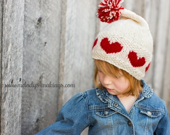 Love-ly Cap Knitting Pattern - Valentine's Day Hat Pattern - All Sizes Baby, Toddler, Child, and Adult Included - Instant Digital Download
