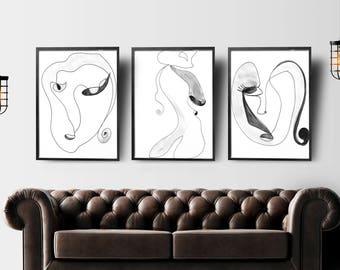 Abstract Face Art, Set of 3 Wall Art, One Line Art, Face Line Drawing, Print Minimalist Art, Drawing Art, Sketch Wall Art, Printable Artwork