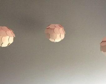 Rose Pink Hombre Paper Lanterns, Set of 3.