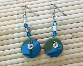 Green and Blue Dangle Beaded Earrings - Handmade Clay and Silver Wire Jewelry For Her Gift for Wife Girlfriend Mom Sister