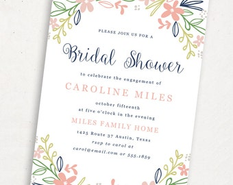 Printable Bridal Shower Template | INSTANT DOWNLOAD | Bouquet | Word or Pages Mac & PC | 5x7