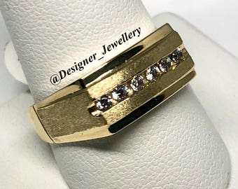 10K Yellow Gold Mens Channel Set Ring