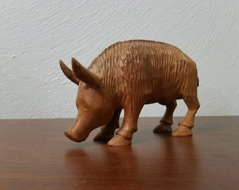 Carved Wood Boar