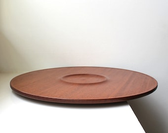 Vintage Large Round Platter Tray Serving Centerpiece Mahogany Danish Modern 1960's