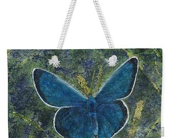 Mother's Day Gift Weekender Tote  Watercolor Batik Blue Karner Butterfly on Grasses