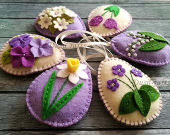 Felt Easter decor, Violet flowers, Lilac Easter Eggs, Purple Easter ornaments, Lily of the valley, Spring Easter decoration