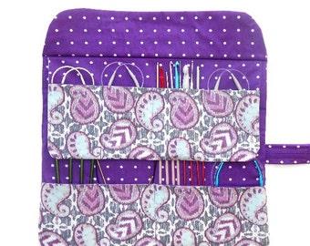 Plum Circular Knitting Needle Case, Paisley Ikat Crochet Hook Organizer, Double Pointed Needle DPN Holder, Artist and Makeup Brushes Storage