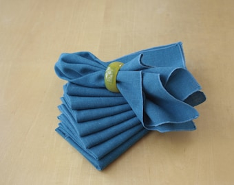 Vintage Mid Century Turquoise Linen Cloth Napkins Set of 8, Blue Cloth Napkins