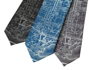 Los Angeles Map Necktie. California Map Tie Silver Screen Oscar Party Academy Awards Hollywood wedding West Coast LA Map Los Angeles County