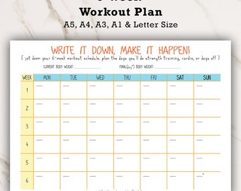 Workout Plan, Fitness Plan, Fitness Schedule, Fitness Log, Fitness Journal, Fitness Tracker, Training Plan, Diet Plan, Weight Loss Plan