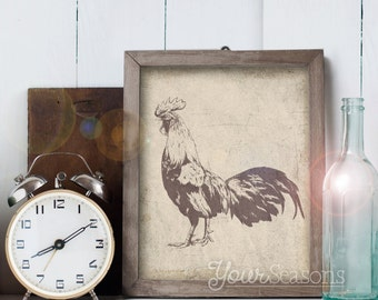 Rooster Print - Rustic Wall Decor - 8x10 printable digital file - INSTANT DOWNLOAD!