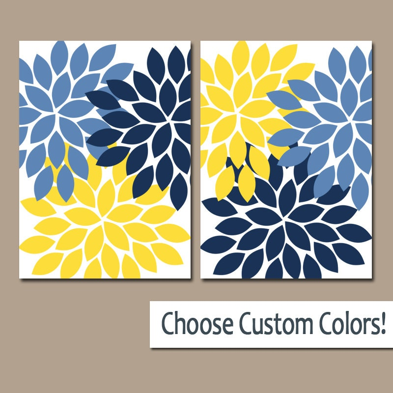 Flower Wall Art Navy Blue Yellow Flower Bedroom Art Nursery