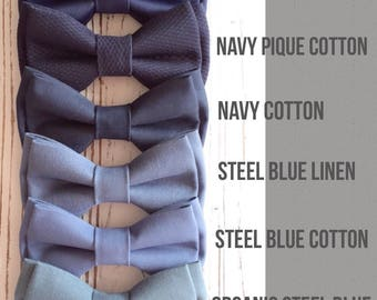 Navy bowtie -blue bow ties-Dusty blue bow tie- Grooms bowtie -Groomsmen bowtie -Ring bearer bowtie -Daddy and son -wedding bow ties