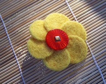 Yellow Felted Flower Brooch, Flower Pin,  Vintage Button, Needle Felted, Flower Brooch, Small Brooch, Yellow Flower, Mothers Day