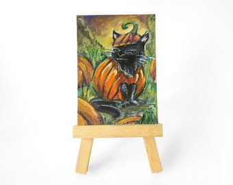Black Cat Art, ACEO Original Acrylic Painting, Pumpkin Patch, Halloween Decor, Pet Portrait, Funny Gift, Cat Owner, Cat Lover