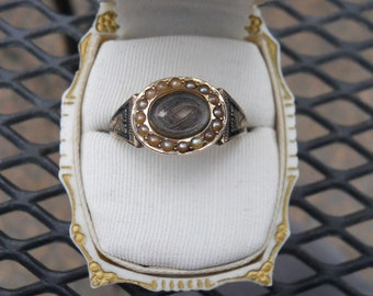 SALE Antique Victorian Gold Mourning Ring with Hair and Seed Pearls