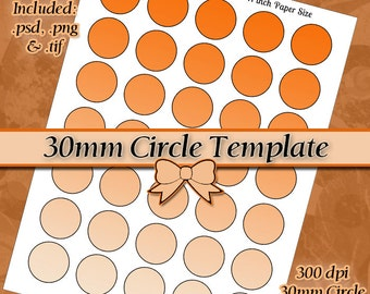 30mm Circle Template DIY DIGITAL Collage Sheet TEMPLATE 8.5x11 inch Page with Video Tutorial Instructions (Instant Download)