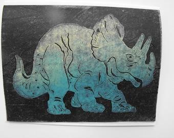 Original handmade greeting card, linocut block print on vintage Japanese paper, blank card, art card, Dinosaur, Triceratops, art for kids