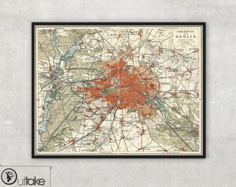 Vintage Berlin city map on canvas, Berlin print, Berlin map, Framed and ready to hang, 045