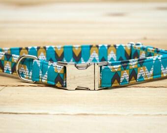 Male Dog Collar, Chevron, turquoise, blue, yellow, gray, boy, newspaper print, Metal Hardware