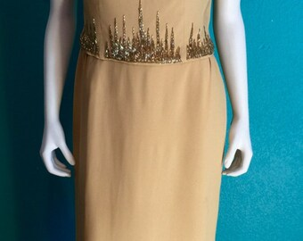1950's Hollywood long form fitting  elegant  dress . HARVEST GOLD w/      Gold & Silver hand beaded neckline  s-med 150.00