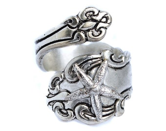 Starfish Spoon Ring -  Silver Nautical Rings,  Steampunk Finger or Thumb ring