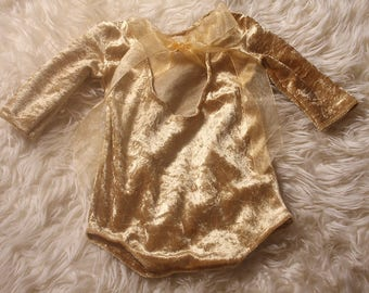 Christmas Photography Romper,Gold Crushed Velour.,Stretch, long sleeved,Newborn Xmas Romper,Low Back,Handmade & RTS .Cake Smash Shoot