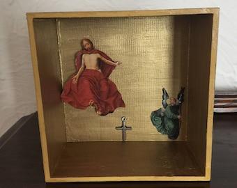 Victorious Jesus Modern Folk Art Shadow Box