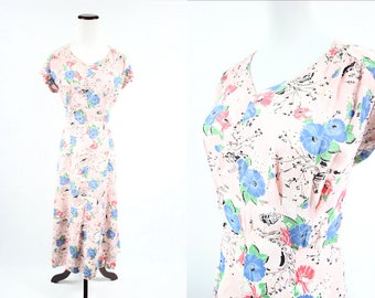 1930's Pink Novelty Floral Print Dress
