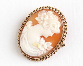 Sale - Antique Cameo Pin - 10k Rosy Yellow Gold Carved Shell Oval Brooch - Vintage 1920s Lady William C. Greene & Co Fine Jewelry Pin