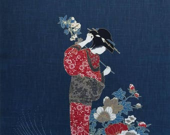 New Japanese cotton Noren quilting panel cloth - Kimono, peony and sakura (cherry blossoms)