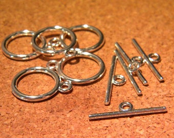 20 set - 15 mm x 2 mm AC27 silver metal toggle clasp