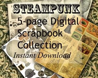 Steampunk Scrapbook Digital Paper Set, 5 Steampunk Collage Pages, Instant Digital Download