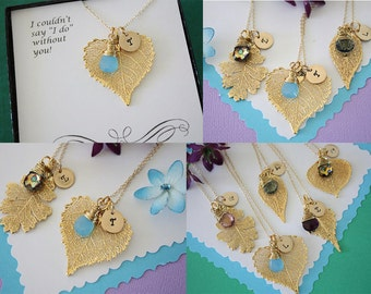 5 Bridesmaid Gifts Gold Leaf Personalized, Bridesmaid Necklaces, Birthstone, Small Real Leaf Necklace, Initial Gold Filled Charm