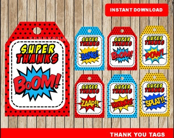 Superhero tags; printable Super Hero Thank you Tags, Superhero party tags instant download