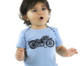 Motorcycle Baby Clothes, Motor Bike Shirt, Organic Cotton Baby Bodysuit, Infant Onepiece Romper, Made in USA, Hand Screenprinted, Baby Biker