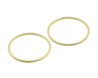 25mm Circle Connector, 24 Raw Brass Circle Connectors (25x1mm) E346
