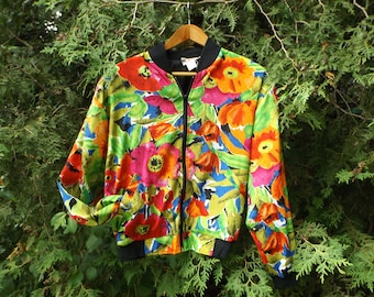 Floral Windbreaker 90s Size MEDIUM Womens Windbreaker Aesthetic Clothing 1990's Shoulder Pads Jacket Light Vintage Windbreaker Neon Flowers