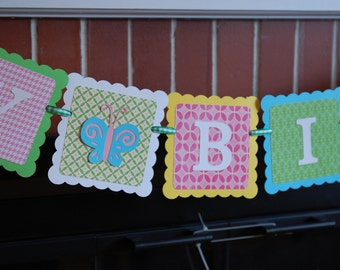 Butterfly Happy Birthday Banner, Butterfly Birthday Banner, 1st Birthday, Butterfly Theme