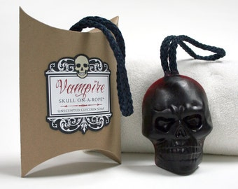 Vampire Skull-On-A-Rope Skull Gift - TRUE BLOOD Red Skull - Soap On A Rope Skull - DemBones -  Skull Soap - Valentine Gift - Goth Gift