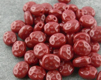 Tiny Dimpled Red Glass Berry Beads 6mm BULK LISTING