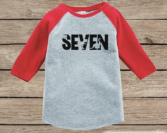 Dinosaur Birthday Shirt - Boys Seventh Birthday Dino Tshirt - Dino Birthday Shirt - Red Raglan Dinosaur 7th Birthday - Dino Seven Shirt