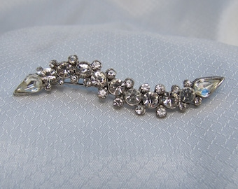 C1940's White Metal Rhinestone Brooch