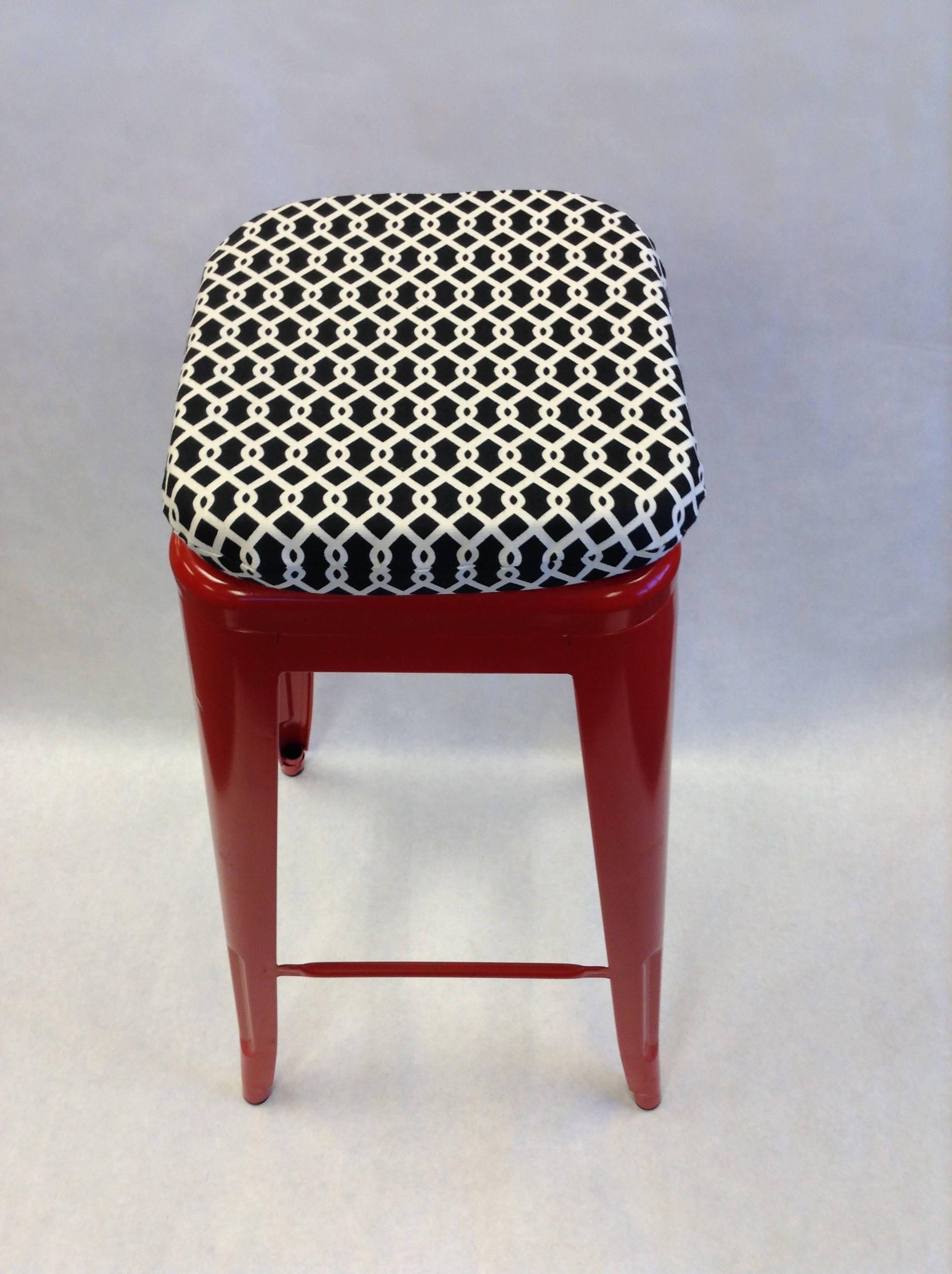 Square bar stool cushion Black and white Buffalo Check Bar
