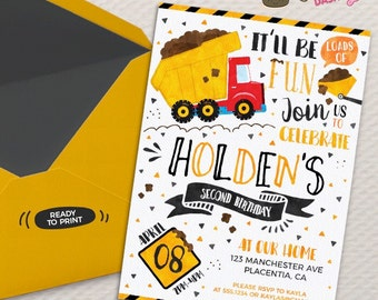 Dump Truck Birthday invitation DIY construction birthday invitation Dump truck party invitation Watercolors construction Invitation