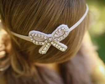 Hair bow, gemstone , bow gemstone , photo prop bow, baby girl bow,