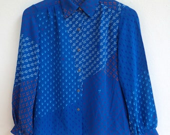 blue button up top / polka dot long sleeves blouse / floral japanese shirt